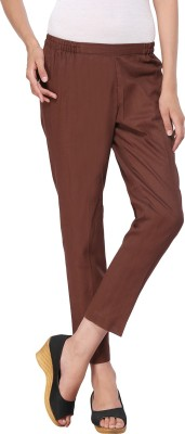 Delfe Slim Fit Women's Brown Trousers