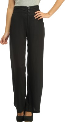 Cottinfab Slim Fit Women's Black Trousers at flipkart