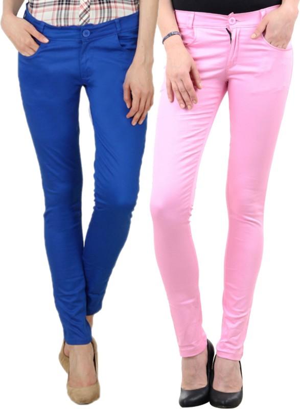 Tiger Grid Slim Fit Women's Multicolor Trousers