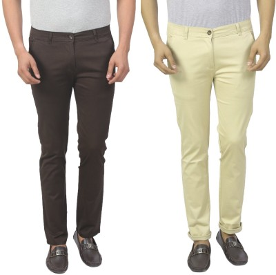Masterly Weft Slim Fit Men's Brown, Cream Trousers
