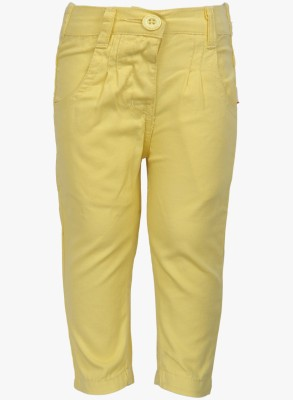 Baby League Regular Fit Baby Girl's Yellow Trousers