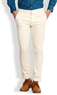 I-Voc Slim Fit Men's White Trousers