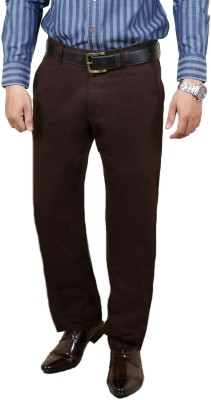 Zrestha Slim Fit Men's Brown Trousers
