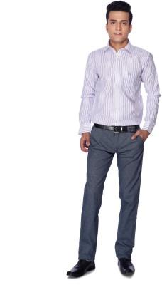 Silver Leaf Slim Fit Men's Blue Trousers