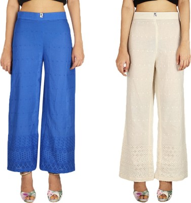 Quetzal Regular Fit Women's White, Blue Trousers