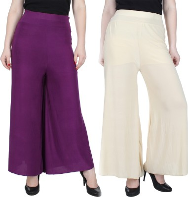 Manash Fashion Regular Fit Women's Purple, Gold Trousers at flipkart