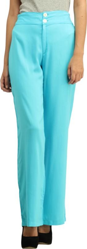 Cottinfab Slim Fit Women's Blue Trousers