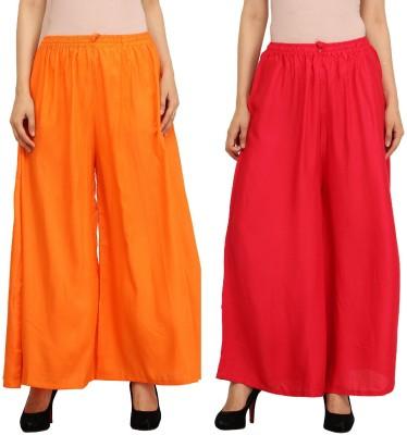 Guru Nanak Fashions Regular Fit Women's Orange, Red Trousers