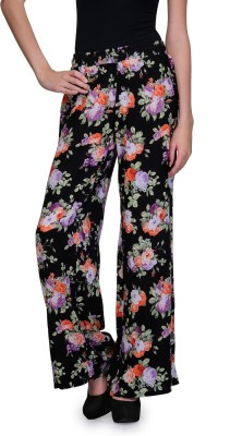 Kiosha Slim Fit Women's Black, Purple Trousers