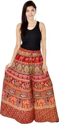 Jaipuri Bandhej Regular Fit Women's Maroon Trousers