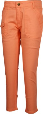 Posh Kids Slim Fit Girl's Orange Trousers