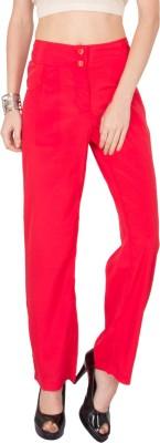 Kaxiaa Regular Fit Women's Red Trousers