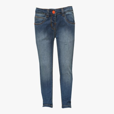 Tales & Stories Slim Fit Girl's Denim Blue Trousers