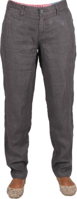 Old Khaki Regular Fit Women's Linen Brown Trousers at flipkart
