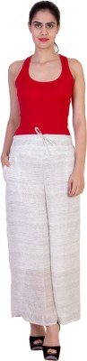 CURVYY Regular Fit Women's White Trousers