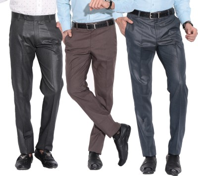 Fizzaro Regular Fit Men's Blue, Brown, Grey Trousers