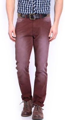 Roadster Slim Fit Men's Maroon Trousers