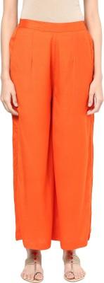 Indibox Regular Fit Women's Orange Trousers at flipkart