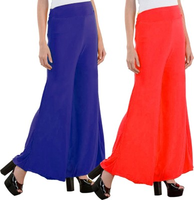 Aadhar Creations Regular Fit Women's Linen Blue, Red Trousers