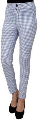 99Hunts Slim Fit Women's Light Blue Trousers