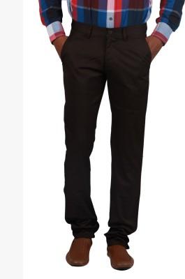 Cotton colors Slim Fit Men's Brown Trousers