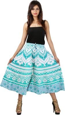 Jaipuri Bandhej Regular Fit Women's White, Green Trousers