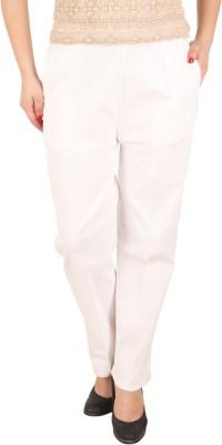 c/cotton comfort Slim Fit Women's White Trousers