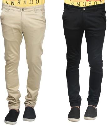 Trendy Trotters Regular Fit Men's Black, Beige Trousers