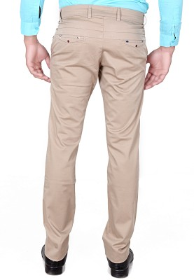TRI-THE REAL INDIANS Slim Fit Men's Cream Trousers
