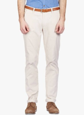 shiksha Slim Fit Men's White Trousers