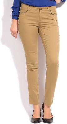 Elle Skinny Fit Women's Beige Trousers