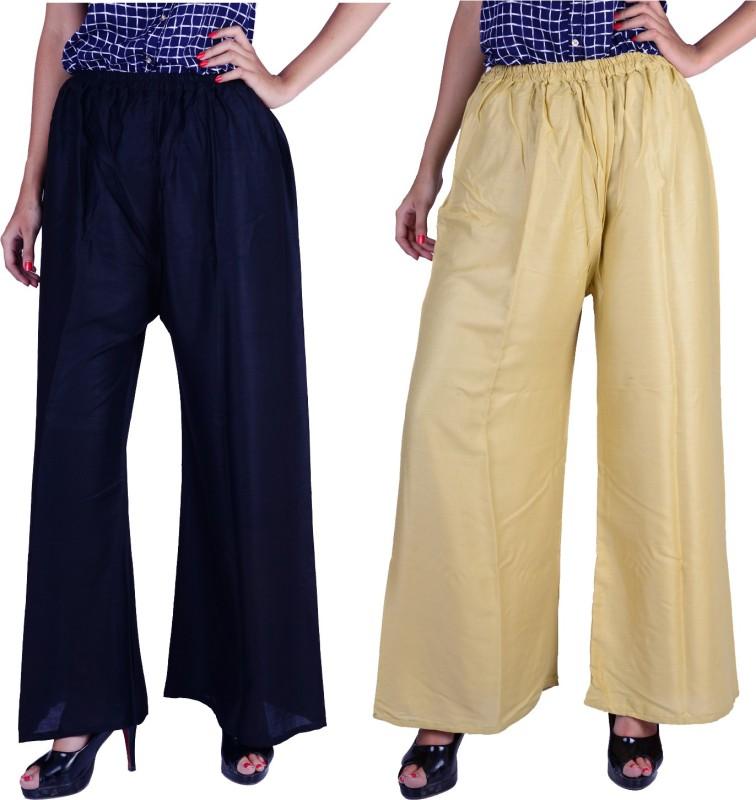 Letsgetit Regular Fit Women's Black, Beige Trousers