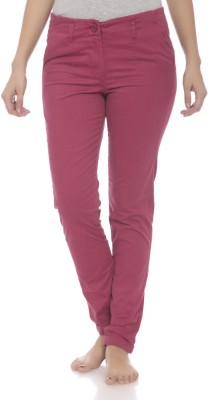Clodentity Regular Fit Women's Maroon Trousers