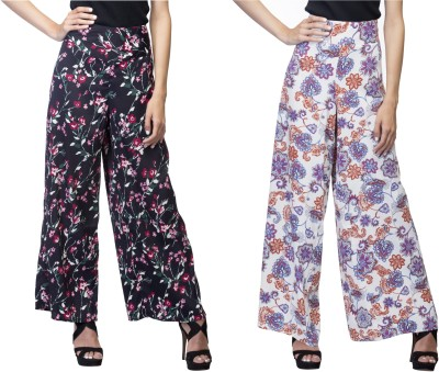 Lambency Regular Fit Women's Black, Multicolor Trousers