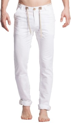 Beevee Regular Fit Men,s White Trousers
