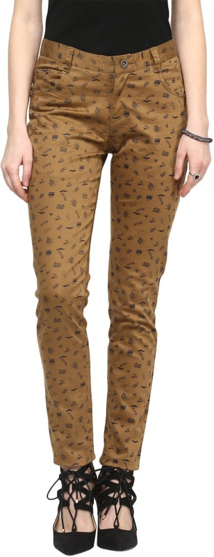 Sakhi Sang Slim Fit Women's Beige Trousers