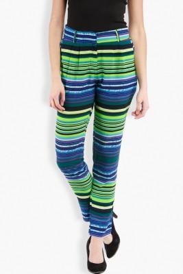 Folklore Slim Fit Women's Dark Blue, Green Trousers