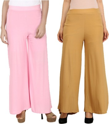 Komal Trading Co Regular Fit Women's Pink, Cream Trousers