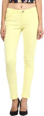 La Rochelle Slim Fit Women's Yellow Trousers