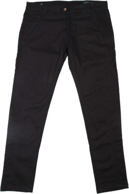 United Colors of Benetton Slim Fit Women's Black Trousers at flipkart