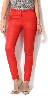 Izabel London by Pantaloons Slim Fit Women's Red Trousers at flipkart