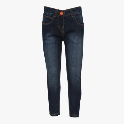 Tales & Stories Slim Fit Girl's Denim Dark Blue Trousers