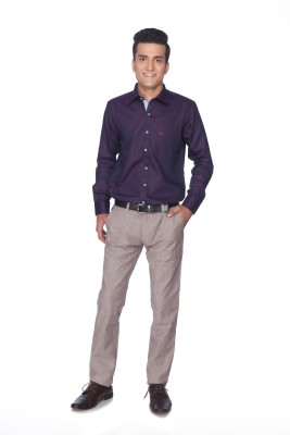 Silver Leaf Slim Fit Men's Purple Trousers