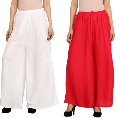 Guru Nanak Fashions Regular Fit Women's White, Red Trousers