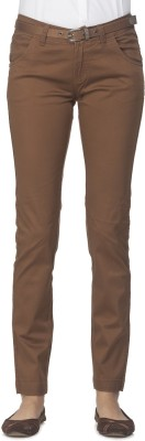 Ixia Slim Fit Women's Brown Trousers