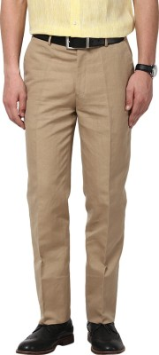 GIVO Slim Fit Men's Linen Brown Trousers
