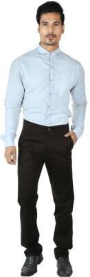 0-Degree Regular Fit Men's Black Trousers