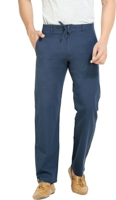 London Bee Regular Fit Men,s Linen Dark Blue Trousers
