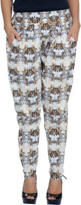 Enah Regular Fit Women's White, Blue Trousers