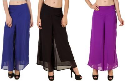 CHIKFAB Regular Fit Women's Blue, Black, Purple Trousers